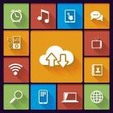 Iconos sociales de la nube medios stock de ilustración