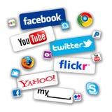 Iconos sociales de la red Fotos de archivo