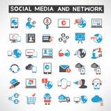 Iconos sociales de la red ilustración del vector