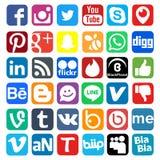 Iconos sociales de la red stock de ilustración