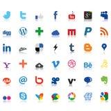 Iconos sociales de la red coloreados Foto de archivo