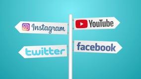 Iconos sociales de la red en muestra del viaje 4K stock de ilustración