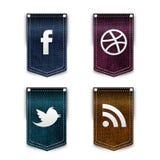 Iconos sociales de la red fijados ilustración del vector