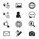 Iconos sociales de la red fijados Fotos de archivo