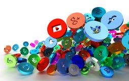 Iconos sociales de la red que caen ilustración del vector