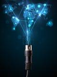 Iconos sociales de la red que salen del cable eléctrico Imágenes de archivo libres de regalías