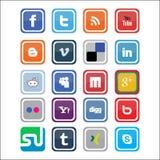 Iconos sociales de los media del vector Fotografía de archivo