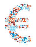 Iconos sociales de los media fijados en símbolo euro libre illustration