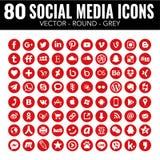 Iconos sociales de los medios del círculo rojo del vector - para el diseño web y el diseño gráfico ilustración del vector