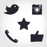 Iconos sociales de los medios y de la red fijados Colección de diverso icono libre illustration