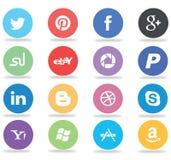Iconos sociales de los medios y del web Foto de archivo