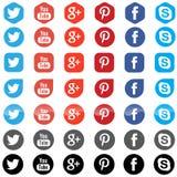 Iconos sociales del App de los medios Imagen de archivo libre de regalías