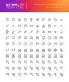 Iconos sociales del diseño material medios fijados Fotos de archivo