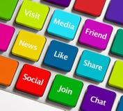 Iconos sociales del establecimiento de una red Imagen de archivo libre de regalías