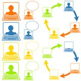 Iconos sociales del establecimiento de una red Fotografía de archivo