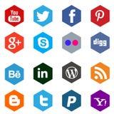 Iconos sociales del establecimiento de una red medios Fotografía de archivo libre de regalías