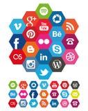 Iconos sociales del hexágono medios Fotos de archivo