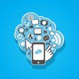 Iconos sociales del teléfono de mobil de los media stock de ilustración