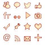Iconos sociales dibujados mano Fotos de archivo