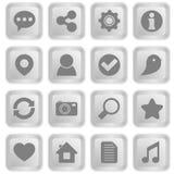 Iconos sociales en los botones blancos del teclado Fotos de archivo libres de regalías