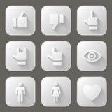 Iconos sociales fijados Foto de archivo libre de regalías