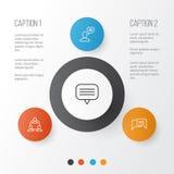Iconos sociales fijados Colección de trabajo en equipo, en línea charlando, Person And Other Elements que habla También incluye s stock de ilustración