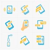 Iconos sociales planos coloridos fijados Imagen de archivo libre de regalías