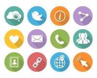 Iconos sociales planos de la red fijados Foto de archivo libre de regalías
