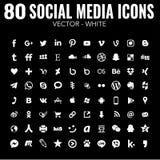 80 iconos sociales simples de los medios del vector plano - blancos - para el diseño web y el diseño gráfico stock de ilustración
