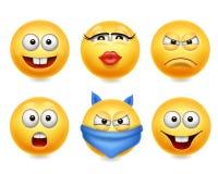 Iconos sonrientes de la cara Sistema realista divertido de las caras 3d Colección amarilla linda del emoji stock de ilustración