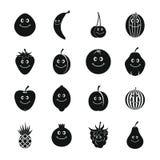Iconos sonrientes fijados, estilo simple de la fruta Imagen de archivo