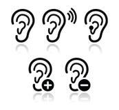 Iconos sordos del problema de la prótesis de oído del oído fijados Fotos de archivo libres de regalías
