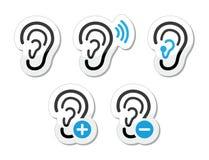 Iconos sordos del problema de la prótesis de oído del oído fijados como escrituras de la etiqueta Fotografía de archivo