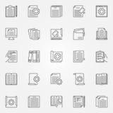 Iconos técnicos del concepto del esquema del vector de la documentación fijados stock de ilustración