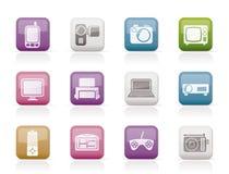 Iconos técnicos de alta tecnología del equipo Fotografía de archivo libre de regalías