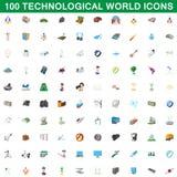 100 iconos tecnológicos fijados, estilo del mundo de la historieta Foto de archivo libre de regalías