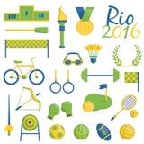 Iconos temáticos de los deportes de Río de Janeiro Fotos de archivo libres de regalías