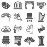 Iconos temporarios del negro del vector del teatro libre illustration
