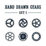 Iconos texturizados dibujados mano de los engranajes fijados ilustración del vector