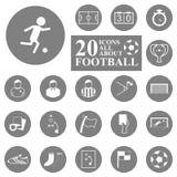 20 iconos todo sobre sistema del fútbol/del fútbol. Imagen de archivo
