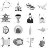 Iconos tradicionales de los símbolos de la iglesia del judaísmo fijados stock de ilustración