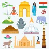 Iconos tradicionales y famosos de la India del país de la religión del viaje del vector stock de ilustración