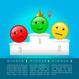 Iconos tristes, neutrales y sonrientes de la cara en el podio del premio 3D premio de los ganadores Ilustración del vector stock de ilustración