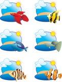 Iconos tropicales de los pescados stock de ilustración