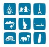 Iconos turísticos de las destinaciones fijados Foto de archivo libre de regalías