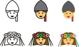 Iconos UCRANIANOS del hombre y de la mujer Imágenes de archivo libres de regalías