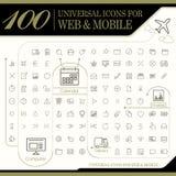 100 iconos universales atractivos fijados Fotografía de archivo libre de regalías