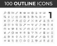 100 iconos universales del esquema para el web y el móvil Movimiento Editable pixel 48x48 perfecto ilustración del vector