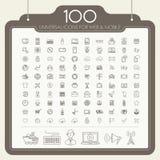 100 iconos universales fijados Foto de archivo