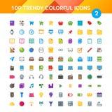 100 iconos universales fijaron 2 Fotografía de archivo libre de regalías